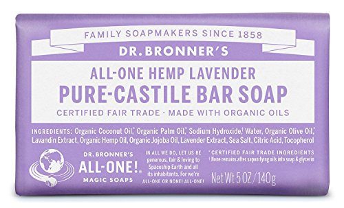 Dr. Bronner's Pure-Castile Bar Soap - Lavender 5oz. (Pack of 6) 1 LAVENDER.  Scented with pure lavender and lavandin oils to calm the mind and soothe the body! Dr. Bronner's Lavender Bar Soap is made with certified fair trade ingredients and organic hemp oil for a soft, smooth lather that won't dry your skin GENTLE SOAP. This moisturizing bar soap offers organic and vegan ingredients for a rich, emollient lather. It is ideal for washing your body or face. With no synthetic detergents or preservatives, you can nourish your skin with every wash. MULTI-USE. This multi-use bar soap can be used on its own as a traditional body or face scrub, or you can dilute it in various recipes for anything from a pest spray to laundry wash. This gentle, yet powerful soap is the ultimate multi-use cleaner.