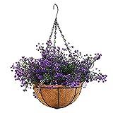 Mynse Lifelike Artificial Plant Indoor Fake Plant Outdoor Decoration Home Shop Garden Hanging Basket with Chain Flowerpot (Purple), Big Basket For Sale