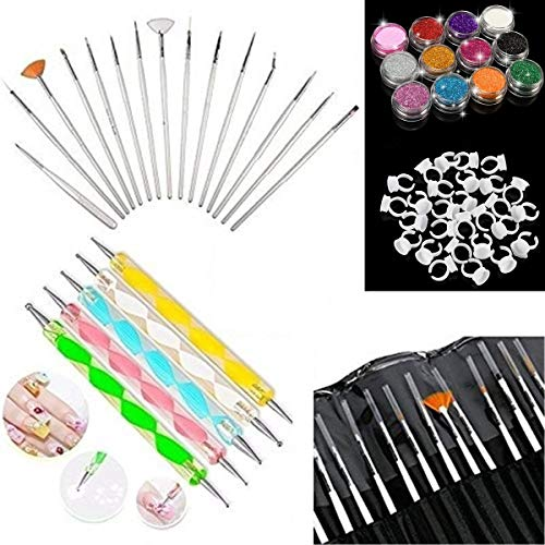 Glam Hobby 20pc Nail Art Manicure Pedicure Beauty Painting Polish Brush and Dotting Pen Tool Set for Natural,False,Acrylic and Gel Nails,100 Disposable nail polish holder, 12 mix color Glitter Powder
