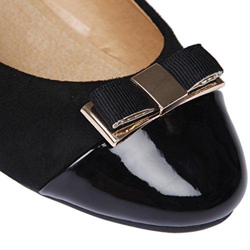 La Modeuse-Bailarinas talla grande doble Material: piel de ante y punta con orificio Negro - negro