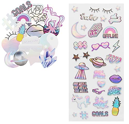 - LaurDIY Unicorn Collection Puffy and Die Cut Cute Stickers for Decorating, 49pc