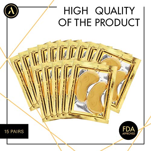 51UZXRqMdPL - ALLUREY 24K Gold Collagen Eye Mask, Best Eye Care, Anti-aging and Anti-wrinkle Effect, Moisturizes, Reduces Puffiness and Dark Circles, Under Eye Patches (15 Pairs)