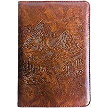 Mountains Journal, Writing Journal, Personal Diary, Lined Journal, Travel, A5 Notebook, Writers Notebook, Faux Leather, Refillable, Fountain Pen Safe, Gift for Him or Her, Sewn Binding