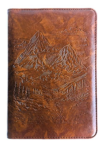 Mountains Journal by SohoSpark, Writing Journal, Personal Diary, Lined Journal, Travel, 6x8.75 Notebook, Writers Notebook, Faux Leather, Refillable, Fountain Pen Safe, Gift, Lay Flat Binding