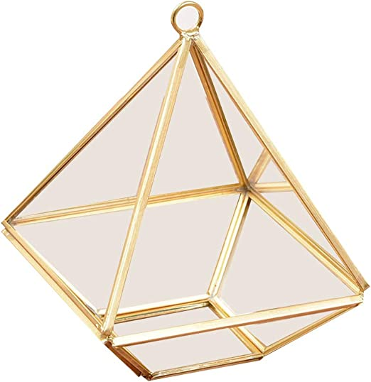 Joyero Amandia, geométrico geométrico transparente, caja de cristal con forma de flor, caja de cristal para anillos de boda, caja de joyería de cristal transparente: Amazon.es: Iluminación