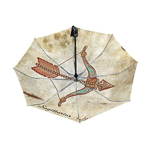 - Franzibla Constellation Zodiac Sign Sagittarius UPF 50+ Anti-UV Parasol Waterproof Windproof Reverse 3 Folds Auto Open Close Lightweight Umbrella
