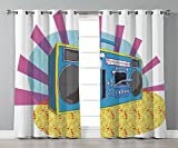 Thermal Insulated Blackout Grommet Window Curtains,70s Party Decorations,Retro Boom Box in Pop Art Manner Dance Music Colorful Composition Decorative,Multicolor,2 Panel Set Window Drapes,for Living Ro