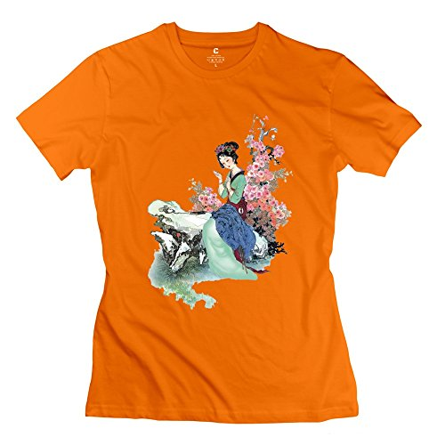 Price comparison product image Onlyprint Women's Chinese Style Beauty T-Shirt Size XL US Orange