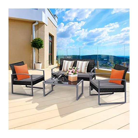 Tangkula 4 PCS Outdoor Patio Furniture Rattan Wicker Conversation Set, As pic - Attractive appearance: equipped with 1 loveseat, 2 chairs and 1 Coffee Table, It is made up with solid steel frame and PE wicker with sponge cushions ensuring a long lifetime. Its stylish armrests and moderate-reclining backrest double the comfort for you to totally relax yourself and make it more eye-catching. Easy carry: Made of lightweight Rattan material, it can be carried easily and labor-efficiently to the desired place. Its compact structure and beautiful texture can surprisingly highlight your patio or poolside Deco. Moment to clean: table with removable tempered glass adds a sophisticated touch and allows you to places drinks, meals and other accessories on top. And you can clean it easily with just a wipe when there is water strain on it. The separable Seat cushion also enables you a quick wash. - patio-furniture, patio, conversation-sets - 51UZYBSY sL. SS570  -