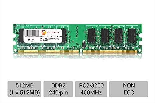 - 512MB STICK DIMM DDR2 NON-ECC PC2-3200 400MHz 400 MHz DDR-2 DDR 2 512 Ram Memory by CENTERNEX