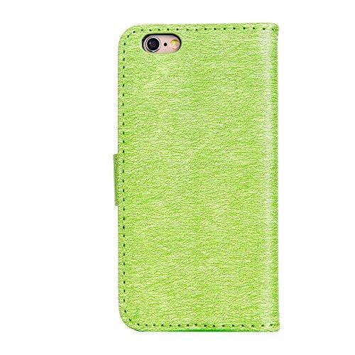 GR Case Cover TPU + PU per Apple iPhone 6 e 6S, disegno in rilievo Ragazze strass raccoglitore dellunità di elaborazione di cuoio di vibrazione orizzontale basamento di caso della copertura con il su