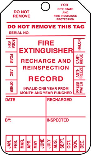 Recharge Fire Extinguisher (Accuform MGT210CTM PF-Cardstock Fire Extinguisher Tag, Legend
