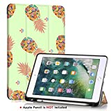iPad 5th/6th Generation case with Pencil holder,iPad Air 2/iPad Air Case,PIXIU Unique Protective Leather Folding Stand Folio Cover with Auto Wake/Sleep for New iPad 9.7 Inch 2018/2017 Pineapple