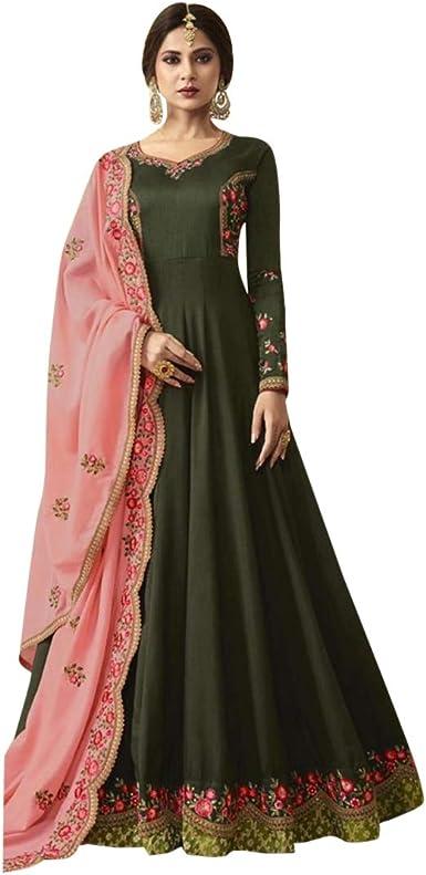 Amazon.com: Anarkali 7351 - Traje largo étnico indio de ...