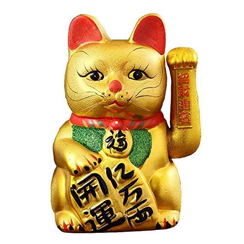 """15"""" Waving Lucky Fortune Cat Maneki Neko Japanese Porcelain Lucky Cat"""