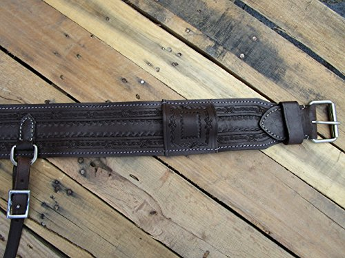 (Orlov Hill Leather Co BARB WIRE TOOLED LEATHER BACK REAR CINCH FLANK BILLET WESTERN GIRTH HORSE TRAIL PLEASURE TACK)