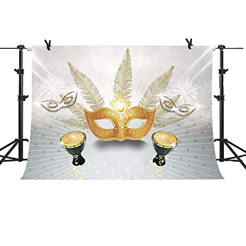 (MME 10x7ft Golden Venetian Mask Background Masquerade Luxury Party Photography Background Props ZYME035)