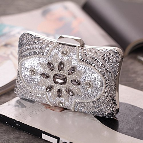 Color Chinese Purse Clutch Gold Handbag Beads Style KERVINFENDRIYUN Bag Evening Banquet Women's Moonlight Silver aqWnPZH6