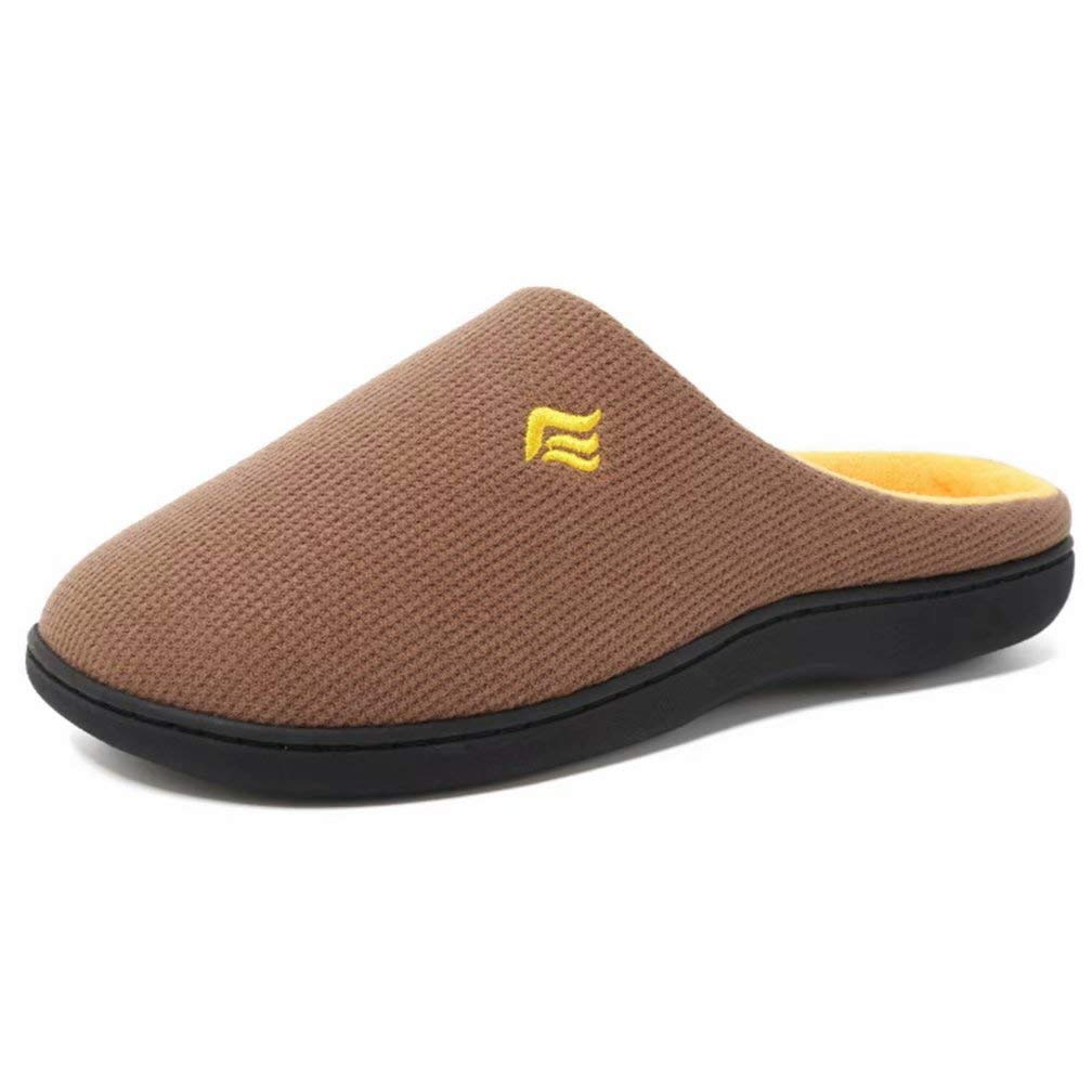 Unisex Memory Foam Slippers Two-Tone Indoor Outdoor Warm Cotton Home Slip-on Shoes