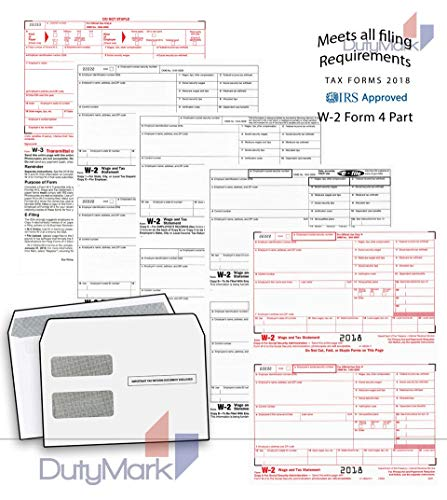 W-2 4-Part Laser Forms 2018 Set, and Self-Seal Envelope, Kit for 25 Employees