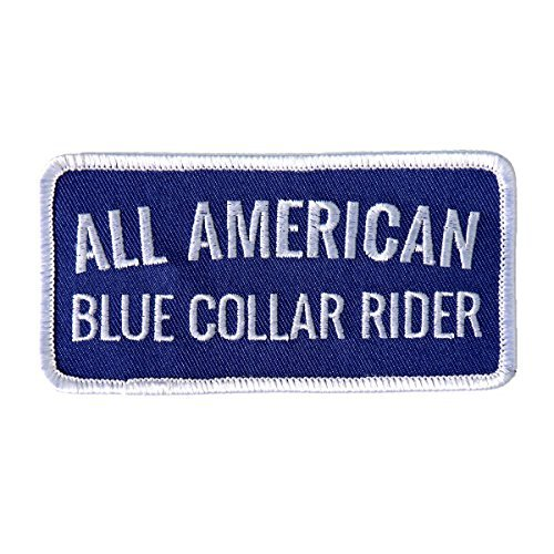 Hot Leathers, ALL AMERICAN BLUE COLLAR RIDER, Iron-On / Saw-On Rayon PATCH - 4