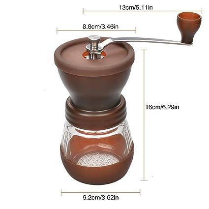 MOGOI Molinillo de café Manual, Molinillo de cerámica Premium Ajustable con Cuerpo de Acero Inoxidable y manivela de Mano fácil, molinillos de preparación ...