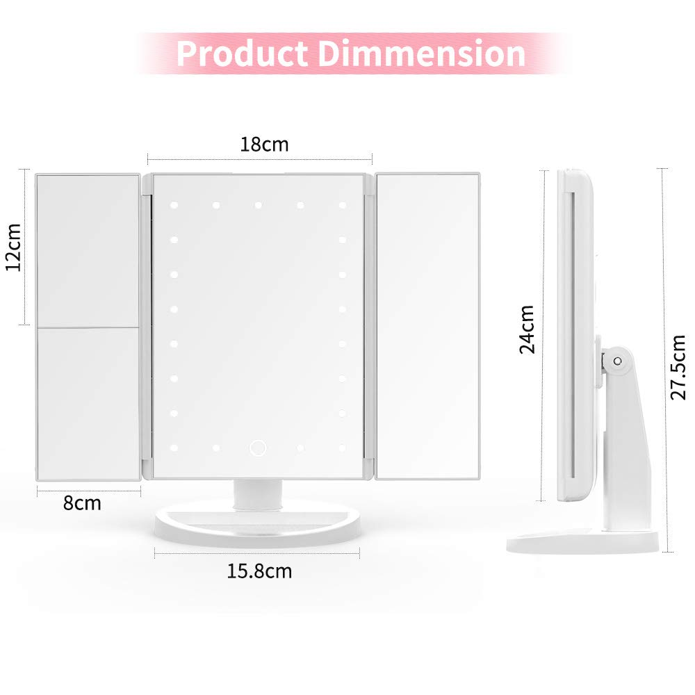 Makeup Mirror with Lights, DIOZO Makeup 21 LED Vanity Mirror, Lighted Up Mirror with Touch Screen Switch, 180 Degree Rotation, Dual Power Supply, Portable White Trifold Mirror by DIOZO (Image #6)