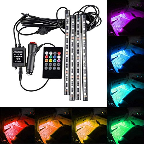 SOCAL-LED 4x Car LED Strip Lights Multi-Color RGB 5050 48 SMD Atmosphere Lamp Interior Footwell Under Dash Lighting Kit, Wireless Remote Control, Sound Activated