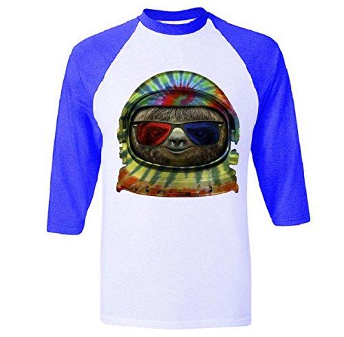 Baseball Sleeve: Sloth Astronaut 3D Glasses Shirt Blue Medium
