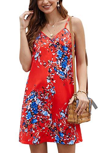 FZ FANTASTIC ZONE Women's Summer Casual V Neck Spaghetti Strap Buttons Sleeveless Tank Mini Dress Floral Orange ()