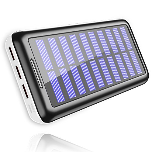 Power Bank Portable Solar Charger - 22000mAh with Dual Input & 3 USB Output Solar Charger, High-Speed Charging Technology Battery Pack for iPhone, Samsung Galaxy and More (White) -