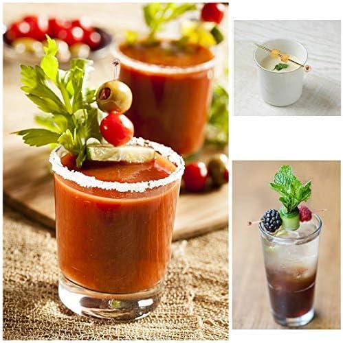 Polly Online 10 Stück Edelstahl-Cocktailspieße, Wiederverwendbare Cocktail-Sticks Obst-Sticks für Fingerfood, kleine Snacks, Antipasti und Cocktails