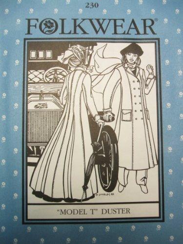 Folkwear 230 Model T Duster Coat Misses 20th Century Steampunk Sewing Costume Pattern -