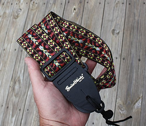 Guitar Strap BLACK BURGUNDY GOLD WOVEN Nylon Solid Leather E