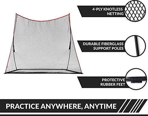 Rukket 3pc Golf Bundle | 10x7ft Haack Golf Net | Tri Turf Hitting Mat | Carry Bag | Practice Driving Indoor and Outdoor | Golfing at Home Swing Training Aids | by SEC Coach Chris Haack by Rukket Sports (Image #4)