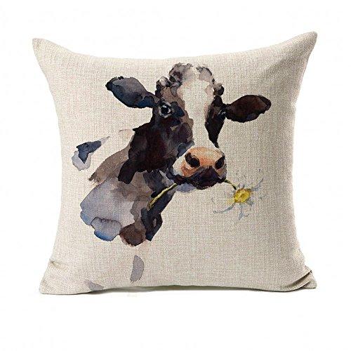 Throw Pillow House - Farmhouse Decoration Cow Throw Pillow Case Cushion Cover Cotton Linen 18
