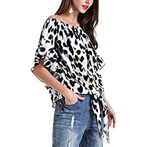 Hibluco Women's Off Shoulder Flare Sleeve Elastic Pullover Crop Top