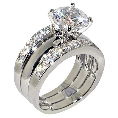 3.47 Ct. Round Cubic Zirconia Cz Solitaire Bridal Engagement Wedding 3 Piece Ring Set (7)