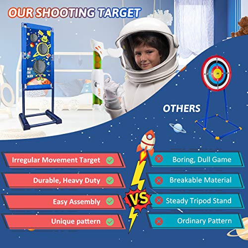 BROADREAM Shooting Game Toys for Kids Boys Rechargeable Moving Shooting Target Toys with 2pk Air Toy Guns, Christmas…