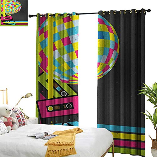 WinfreyDecor Exclusive Home Curtains Popstar Party Retro Party Theme Disco Ball 80s Style Audio Cassette Tapes Colorful Stripes Noise Reducing W120 x L84 Multicolor -