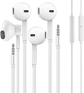 【2Pack】 Headphones with 3.5mm Earphones Plug,Earphones Stereo Headphones Noise Headset with Mic Call+Volume Control for iPhone 6 Earbus Compatible with iPhone 6s//6plus//6//5s,Android,PC