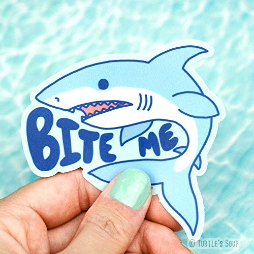 Funny Decals, Bite Me, Shark Sticker, Surfboard Sticker, Car Decal, Great White, Beach Stickers, Turtle's Soup ()
