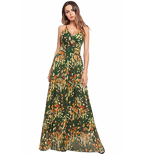 AISKLY Women Cross Strap Bohemian Printed Long Dress Backless Sexy Dress ()