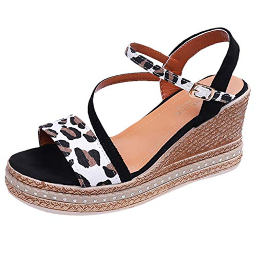 (Save 15% BBesty Women's Peep Toe Breathable Beach Sandals Rome Word Buckle Strap Leopard Printed Wedges Shoes Black)