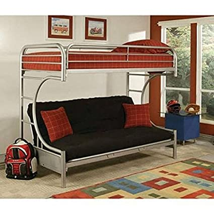 Buy New Eclipse Twin Over Full Futon Bunk Bed Silver Guard Rails