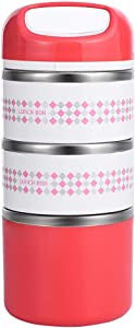 3 Layers Stainless Steel Lunch Containers with Handle, Insulated Lunch Box Stay Hot 3h, Leak-proof Food Containers for Adults, Work, School - 48 oz, Red