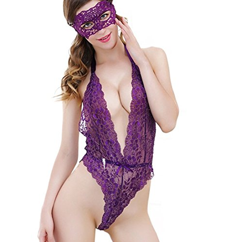 SEXINN Sexy Lingerie For Women for Sex Deep V Halterneck and Backless Lace Teddy With Eye Cover Spun Gold and (Slutty Maid Outfit)