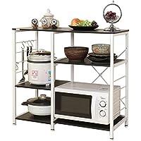 Dland Microwave Cart Stand 35.4 Kitchen Utility Storage 3-Tier+3-Tier for Baker's Rack & Spice Rack Organizer Workstation Shelf, Black
