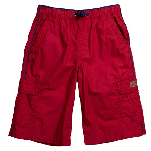 Unionbay Boys' 100% Cotton Cargo Short With Pull On, Elastic Waist,Red,12 Boys Elastic Waist Shorts