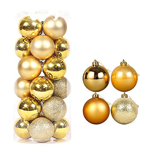 Better Selection 40mm Colorful Christmas Tree Ball Bauble Hanging Xmas Plastic Hanging Baubles Christmas Tree Ornaments 24Pack (Gold)